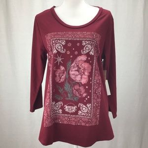 Lucky Brand Graphic Print Scoop Neck Cabernet Top